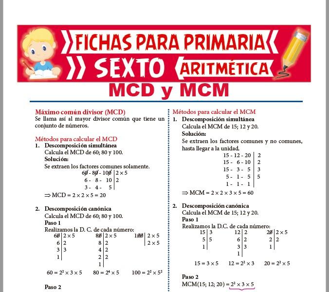 MCD y MCM para Sexto de Primaria