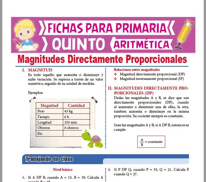 Ficha de Magnitudes Directamente Proporcionales para Quinto Grado de Primaria