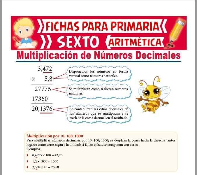 Ficha de Multiplicaciones de Números Decimales para Sexto de Primaria