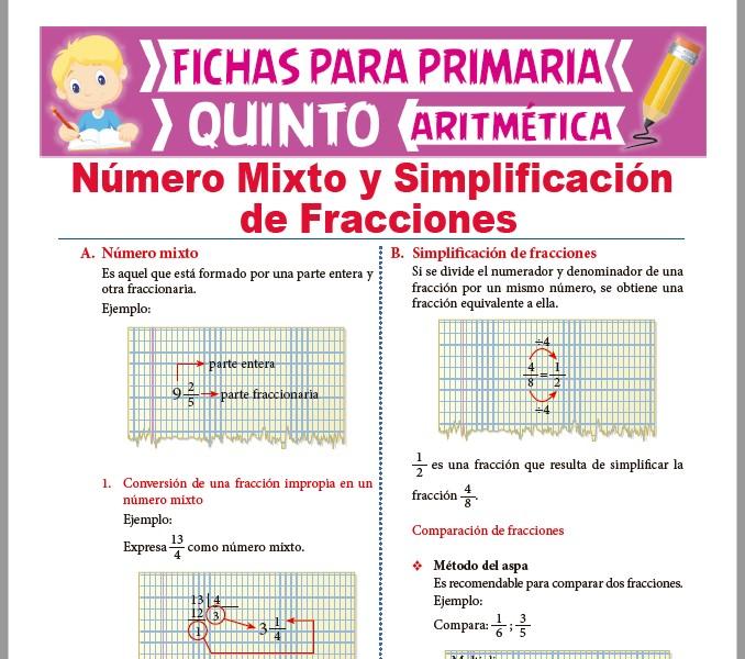 Ficha de Número Mixto y Simplificación de Fracciones para Quinto Grado de Primaria