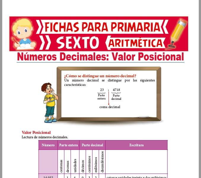 Ficha de Números Decimales y Valor Posicional para Sexto de Primaria