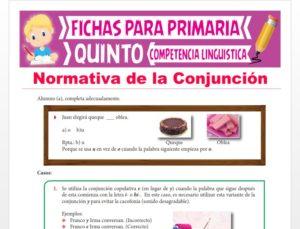 Ficha de Normativa de la Conjunción para Quinto Grado de Primaria