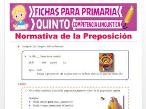 Ficha de Normativa de la Preposición para Quinto Grado de Primaria