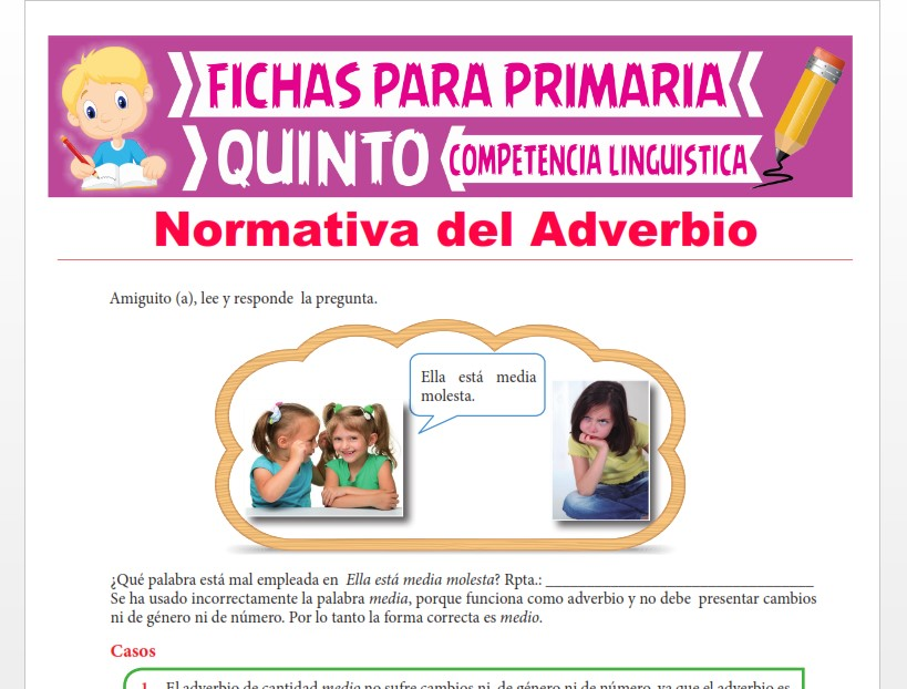 Ficha de Normativa del Adverbio para Quinto Grado de Primaria