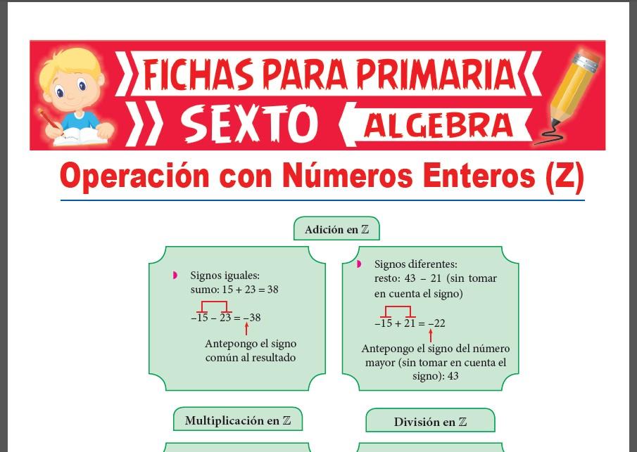 Operación Con Números Enteros Para Sexto Grado De Primaria