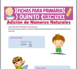 Ficha de Operación de Adición de Naturales para Quinto Grado de Primaria