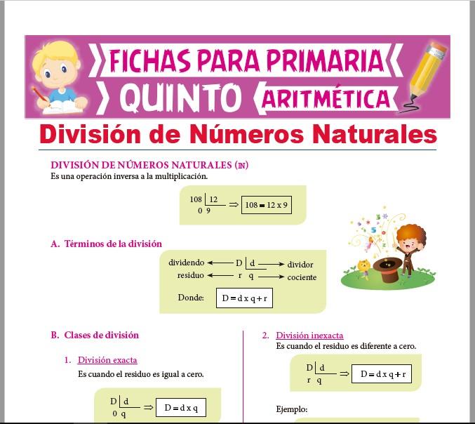 Ficha de Operación de División de Naturales para Quinto Grado de Primaria
