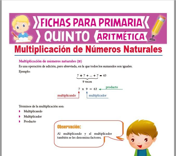 Ficha de Operación de Multiplicación de Naturales para Quinto Grado de Primaria