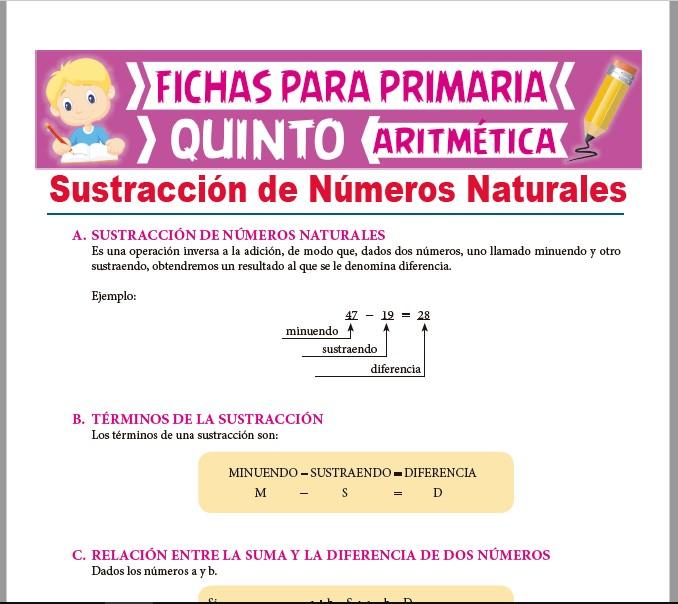 Ficha de Operación de Sustracción de Naturales para Quinto Grado de Primaria