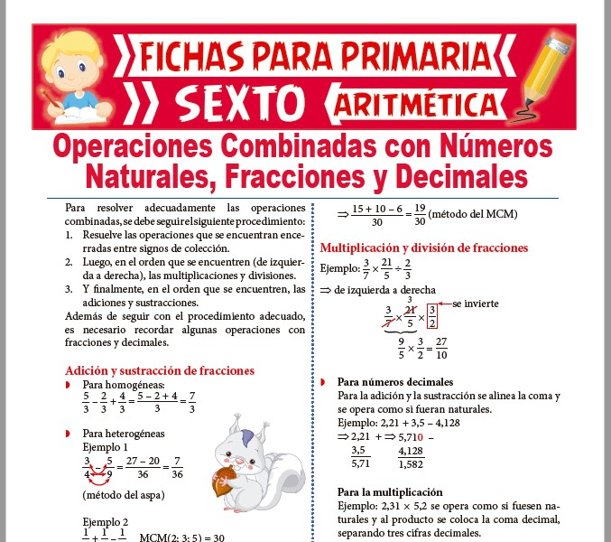 Ficha de Operaciones Combinadas con Fracciones y Decimales para Sexto de Primaria
