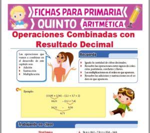Ficha de Operaciones Combinadas con Resultado Decimal para Quinto Grado de Primaria