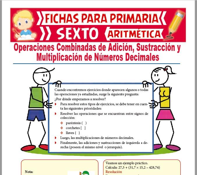 Ficha de Operaciones Combinadas de Decimales para Sexto de Primaria