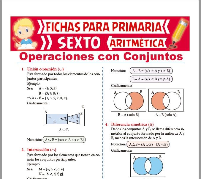 Ficha de Operaciones con Conjuntos para Sexto de Primaria