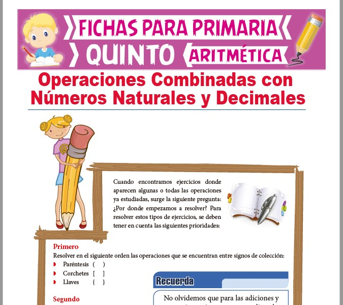 Ficha de Operaciones de Números Naturales y Decimales para Quinto Grado de Primaria