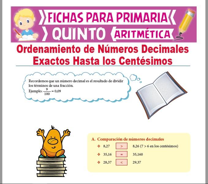 Ficha de Ordenamiento de Decimales hasta los Centésimos para Quinto Grado de Primaria