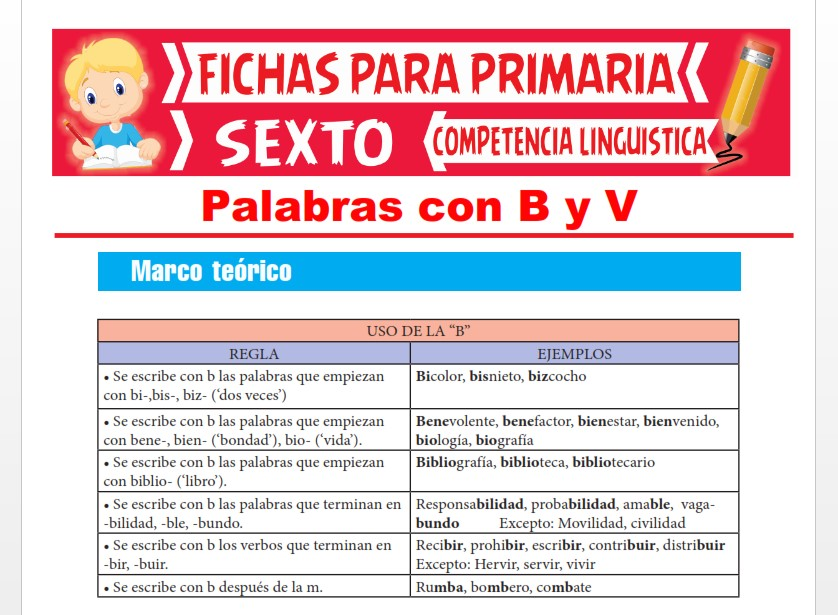 Ficha de Palabras con B y V para Sexto Grado de Primaria