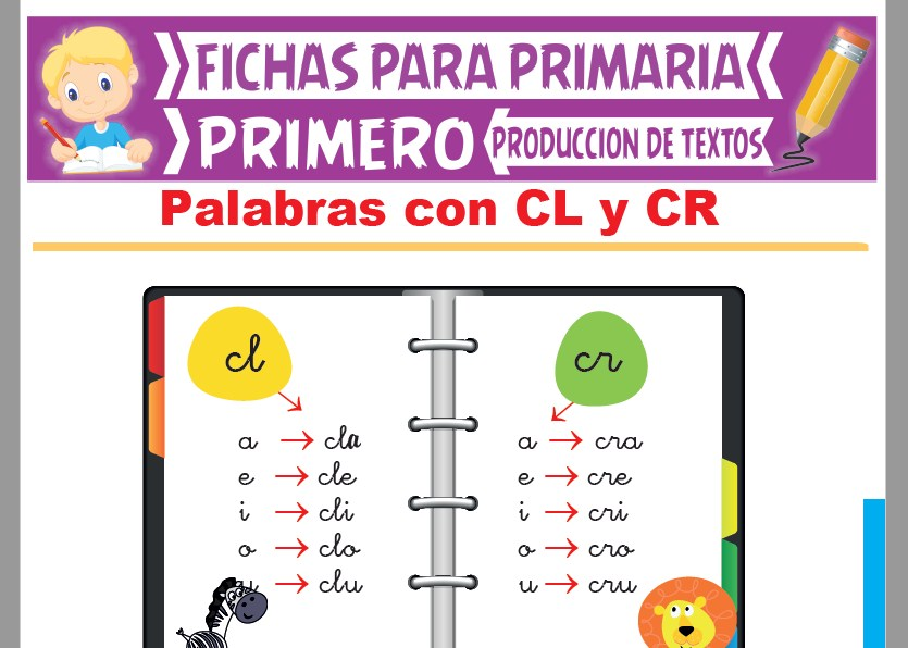 Ficha de Palabras con CL y CR para Primer Grado de Primaria