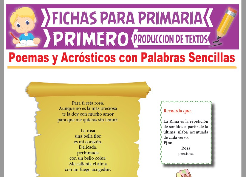 Ficha de Poemas y Acrósticos con Palabras Sencillas para Primer Grado de Primaria