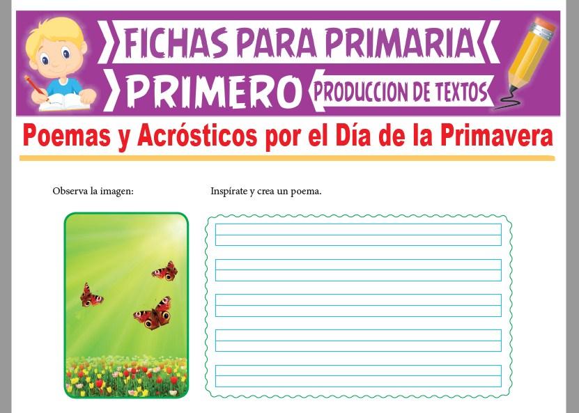 Ficha de Poemas y Acrósticos por el Día de la Primavera para Primer Grado de Primaria