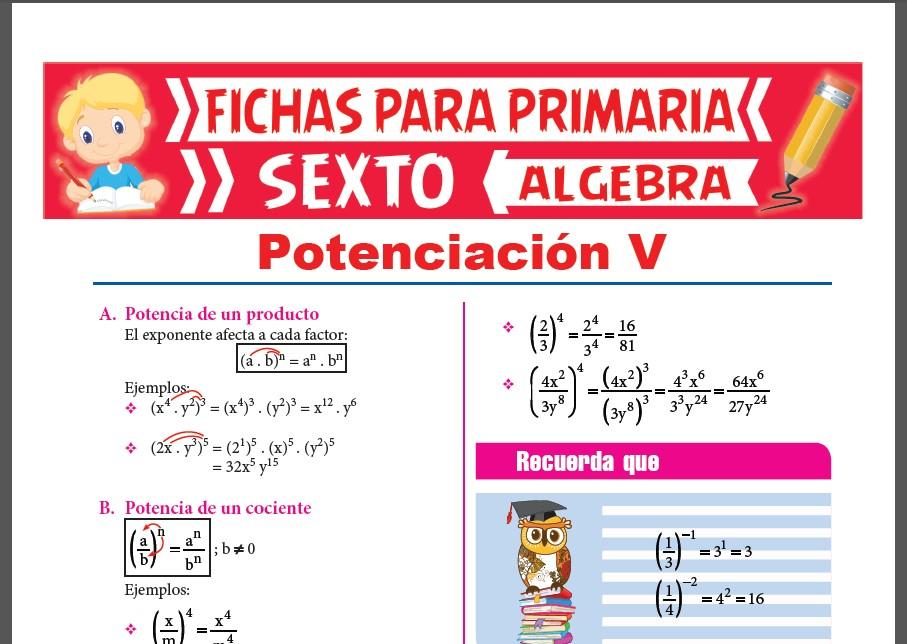 Ficha de Potencia de un Producto y Potencia de un Cociente para Sexto Grado de Primaria