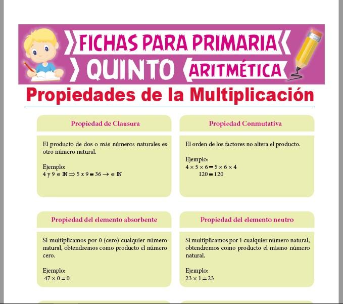 Ficha de Propiedades de la Multiplicación para Quinto Grado de Primaria