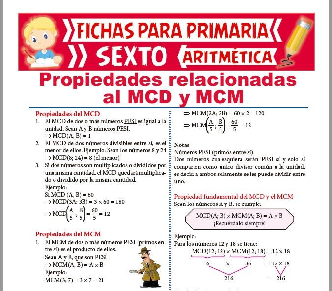 Ficha de Propiedades del MCD y MCM para Sexto de Primaria
