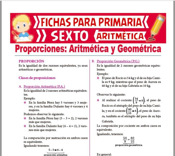 Ficha de Proporciones Aritméticas y Geométricas para Sexto de Primaria