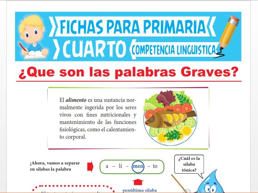 Ficha de ¿Qué son las Palabras Graves? para Cuarto Grado de Primaria