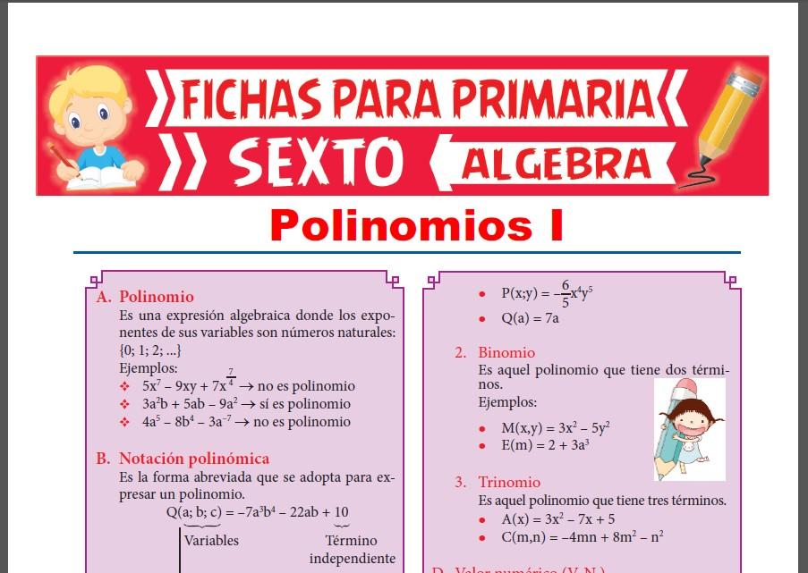 Ficha de Que es un Polinomio para Sexto Grado de Primaria