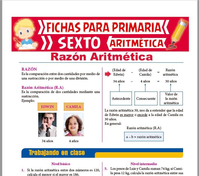 Ficha de Razón Aritmética para Sexto de Primaria