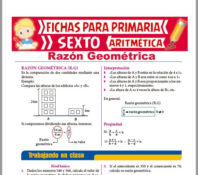 Ficha de Razón Geométrica para Sexto de Primaria