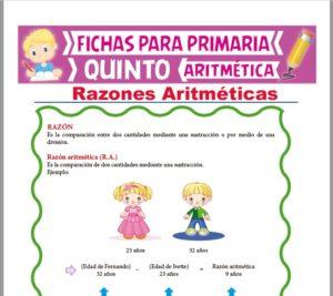 Ficha de Razones Aritméticas para Quinto Grado de Primaria