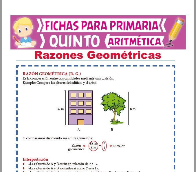Ficha de Razones Geométricas para Quinto Grado de Primaria