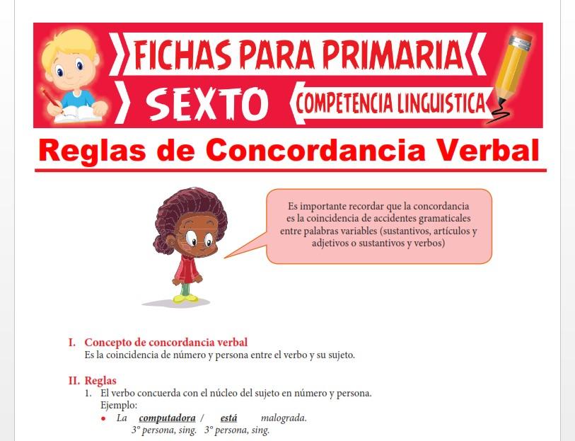 Ficha de Reglas de Concordancia Verbal para Sexto Grado de Primaria