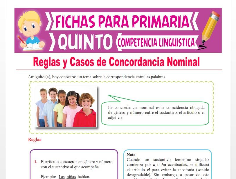 Ficha de Reglas y Casos de Concordancia Nominal para Quinto Grado de Primaria