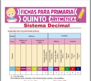 Ficha de Sistema Decimal para Quinto Grado de Primaria