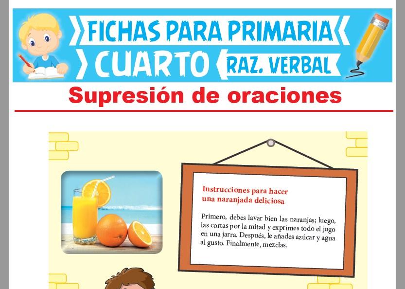 Ficha de Supresión de Oraciones para Cuarto Grado de Primaria
