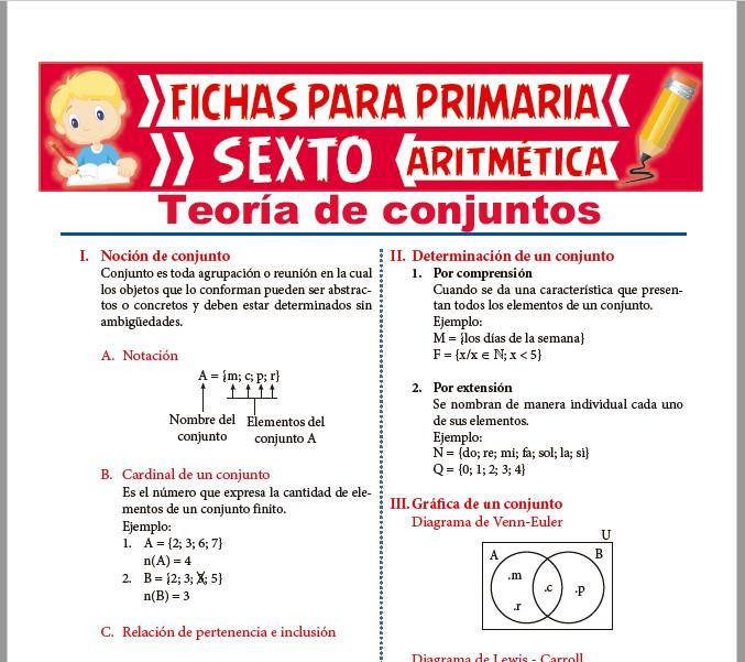 Ficha de Teoría de Conjuntos para Sexto de Primaria
