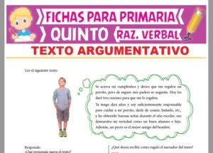 Ficha de Textos Argumentativos para Quinto Grado de Primaria