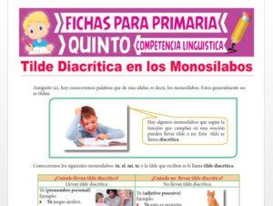 Ficha de Tilde Diacrítica en los Monosílabos para Quinto Grado de Primaria