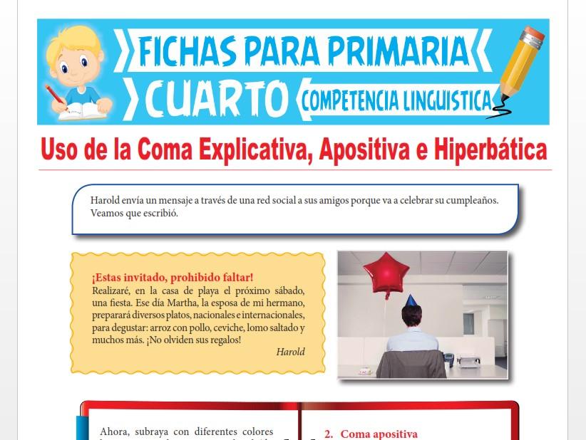 Ficha de Uso de la Coma Explicativa, Apositiva e Hiperbática para Cuarto Grado de Primaria