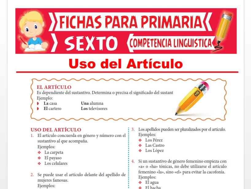 Ficha de Uso del Artículo para Sexto Grado de Primaria
