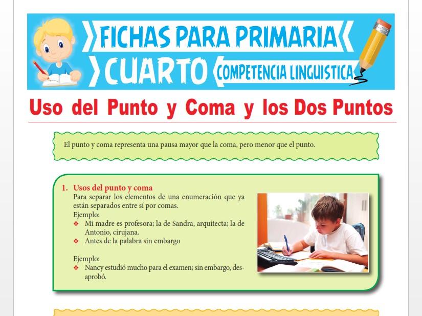 Ficha de Uso del Punto y Coma y los Dos Puntos para Cuarto Grado de Primaria