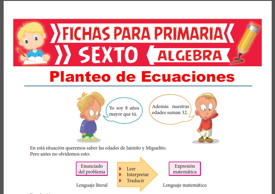 Ficha de Ejercicios de Planteo de Ecuaciones para Sexto Grado de Primaria