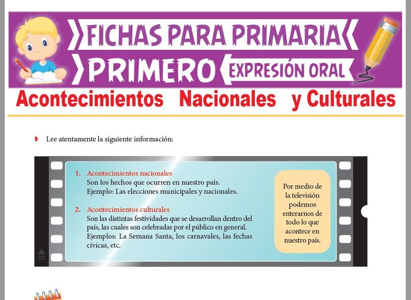 Ficha de Acontecimientos Nacionales y Culturales para Primer Grado de Primaria