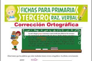 Ficha de Actividades de Corrección Ortográfica para Tercer Grado de Primaria