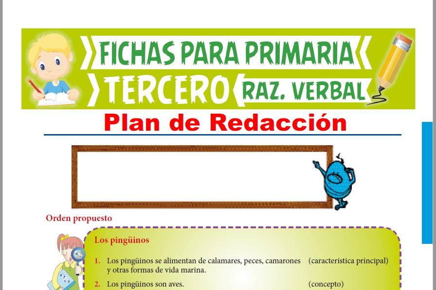 Ficha de Actividades de Plan de Redacción para Tercer Grado de Primaria