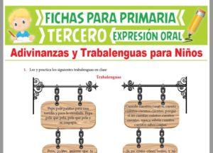 Ficha de Adivinanzas y Trabalenguas para Niños para Tercer Grado de Primaria