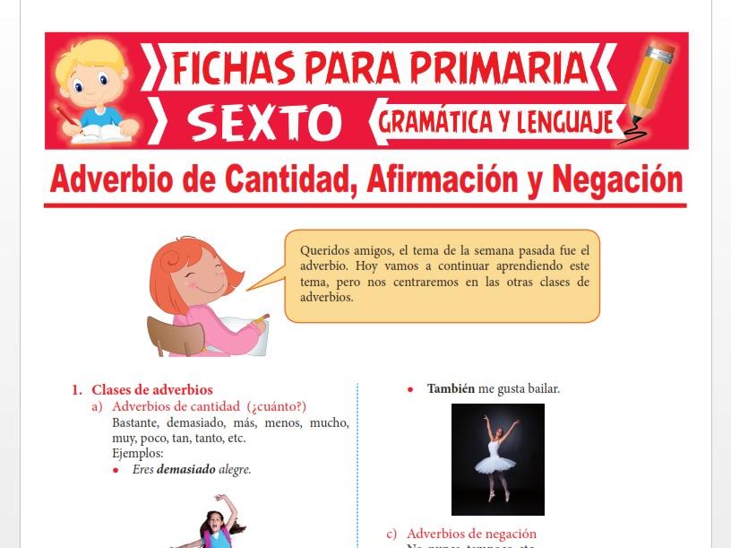 Ficha de Adverbio de Cantidad, Afirmación y Negación para Sexto Grado de Primaria