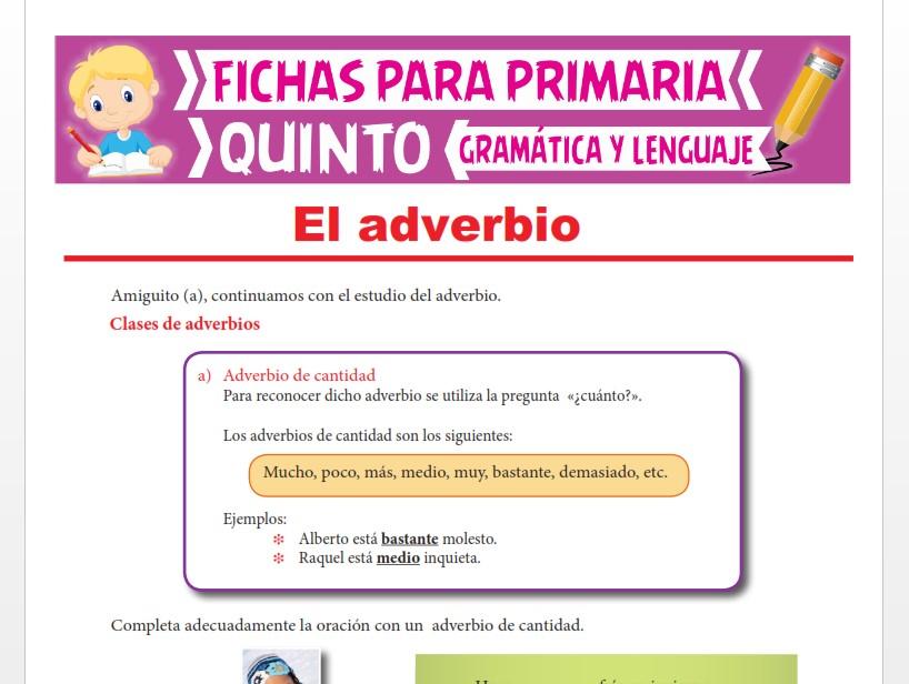 Ficha de Adverbio de Cantidad y de Modo para Quinto Grado de Primaria